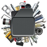 Vector Car Mat with Car Spares Stock Photography