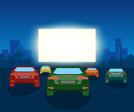 Vector Car Open Air Cinema. Vintage Illustration With Cars And Night City Royalty Free Stock Image
