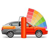 Vector Car with Paint Brush Royalty Free Stock Image