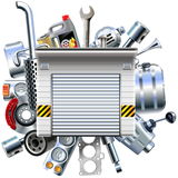 Vector Car Parts with Garage Stock Photography