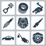 Vector car parts icons set Royalty Free Stock Photography