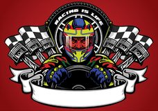 Car racer wearing helmet with ribbon for text space. Vector of car racer wearing helmet with ribbon for text space Stock Photography