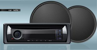 Vector car radio with speakers Stock Images