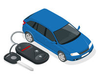 Vector car rental or sale concept. Car and Car Keys and charm of the alarm system. Flat 3d isometric vector illustration Stock Photography