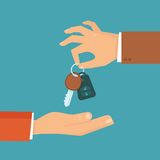 Vector car rental or sale concept in flat style. Hand holding car key Stock Photography