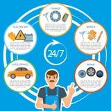 Vector Car Repair, Mechanics Services Infographics Royalty Free Stock Photo