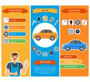 Vector car repair, mechanics services infographics. Vector flat car repair, maintenance, mechanics services infographic posters banners set with car spare parts vector illustration