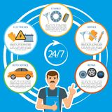 Vector car repair, mechanics services infographics. Vector flat car repair, 24 hour maintenance, mechanics services, repair infographic posters banners set with stock illustration