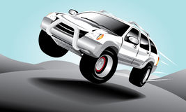 Vector car in the road Royalty Free Stock Photography