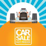 Vector Car sale design template with retro car. Royalty Free Stock Image
