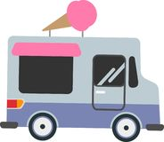 Vector car selling ice cream on a white background stock illustration