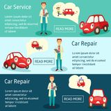 Vector car service manager banners set. Vector car service manager banners, infographics set. flat man car service manager holding clipboard and pen and car Royalty Free Stock Image