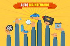 Vector car service poster with hand holding tools. Vector flat car service, auto maintenance, repair infographic poster with handyman worker hand in uniform Stock Photography