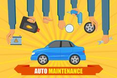 Vector car service poster with hand holding tools. Vector flat car service, auto maintenance, repair infographic poster with handyman worker hand in uniform Royalty Free Stock Image