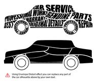 Vector car silhouette with distorted words and text modified by envelope distort effect. Car maintenence and repair service with w. Arranty concept image Stock Image