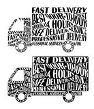 Vector car silhouette with distorted words and text modified by envelope distort effect. Truck delivery services concept image. Au. Tomobile industry vector news Royalty Free Stock Image