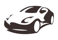 Vector car silhouette. Car silhouette for printing or logo tuning company Royalty Free Stock Images