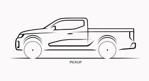 Vector car silhouette. Side view of pickup. Vector car silhouette. Side view of off-road pickup Royalty Free Stock Photography