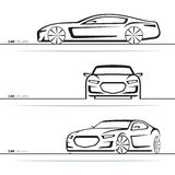 Vector car silhouettes set. Front, three-quarter and side view Stock Images
