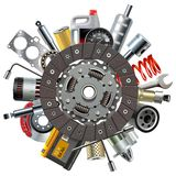 Vector Car Spares Concept with Clutch Disc vector illustration