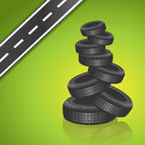 Vector car tire on green background Royalty Free Stock Photo