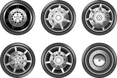 Vector car tire icons. Wheels. On white Royalty Free Stock Photos