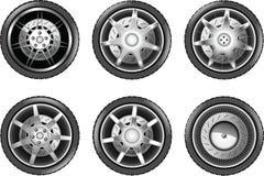 Vector car tire icons. Wheels Royalty Free Stock Photos