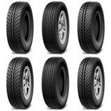 Vector Car Tires. On white background Stock Photos