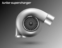 Vector car turbocharger isolated on transparent background. Realistic metal turbine icon. Tuning turbo superchardger. vector illustration