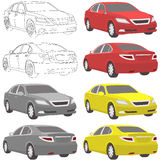 Vector car two view front and back Stock Image