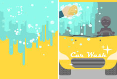 Vector car wash banner for advert. Yellow Stock Photo