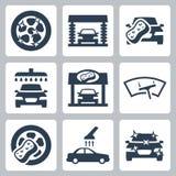 Vector car wash icons set vector illustration