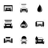 Vector car wash icons set Stock Image