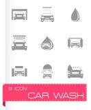 Vector car wash icons set Royalty Free Stock Photos