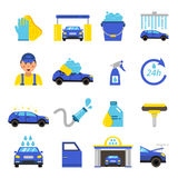 Vector of car washing equipment. Cleaning service for automobiles. Car wash service station illustration Royalty Free Stock Images