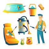 Vector car washing service with cartoon character. Vector set of manual car washing service with cartoon character. Automobile service with guy for cleaning Royalty Free Stock Photo