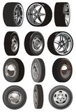Vector car wheels set Royalty Free Stock Photo