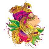 Vector a cara da menina do perfil na máscara do carnaval com as penas douradas do pavão do esboço, o colar ornamentado e os grânu Fotos de Stock