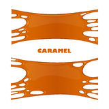 Vector caramel drips and flowing. Illustration of caramel sweet drips and flowing. Splash, drops and flow melted candy, brown sugar syrup or honey. Abstract Royalty Free Stock Images