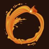 Vector caramel frame. Caramel frame. Liquid splash and drops flow in a circle. Vector illustration Stock Images