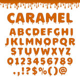 Vector caramel latin alphabet, abc Stock Photo