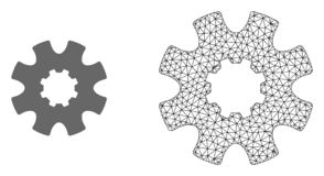 Vector Carcass Mesh Cog Gear and Flat Icon vector illustration
