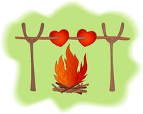 Vector card. With hearts and fire Stock Photos