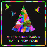 Vector card with abstract Christmas tree. Vector illustration. Merry Christmas & New Year greeting illustration Royalty Free Stock Images