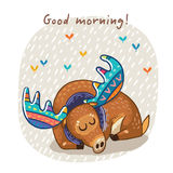 Vector card with awesome elk. Hand drawn elk vector with colorful antlers. Awesome childish card with text in vector. Good morning royalty free illustration