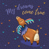 Vector card with awesome elk. Hand drawn elk vector with colorful antlers. Awesome childish card with text in vector. My dreams come true vector illustration