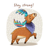 Vector card with awesome elk. Hand drawn elk vector with colorful antlers. Awesome childish card with text in vector. Stay strong royalty free illustration
