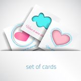 Vector Card Baby. Set colorful love card. Vector design pink and blue card. Art advertising template. Trendy holiday card. Valentines white card. Pink heart Stock Illustration