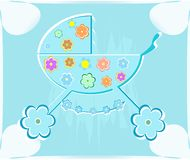 Vector card for babyshower. perambulator for boy Stock Photo