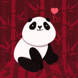 Vector card and background with cartoon cute panda and dark red bamboo Stock Photography
